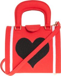 Olympia Le-Tan Red with Black Heart Handle Bag - Lyst