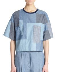 3.1 Phillip Lim Boxy Cotton Chambray Patchwork Top - Lyst