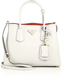 prada tote bag price - Prada Saffiano Cuir Small Double Bag in Green (giada) | Lyst