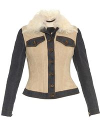 Burberry Prorsum | Denim-panel Shearling Jacket | Lyst