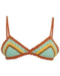 She Made Me - Stevie Stripe Fixed Triangle Crochet Bikini Top - Lyst