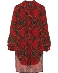 McQ by Alexander McQueen Pleated Plaid Silk-crepe Dress - Lyst