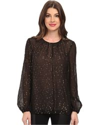 BCBGMAXAZRIA Martina Rouched Neck Blouse - Lyst