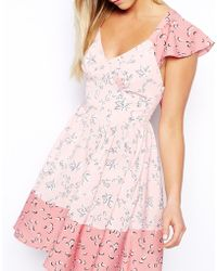 Asos Exclusive Ruffle Sleeve Tie Mix Print Skater Dress - Lyst
