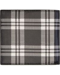 Alexander McQueen Black and White Check Leather Bifold Wallet - Lyst