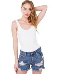Rehab - Down Low Basic Off White Bodysuit - Lyst