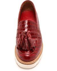 Grenson Clara Croc Tassel Loafers  Red - Lyst