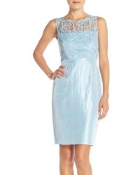 Adrianna Papell | Embellished Lace Sheath Dress | Lyst