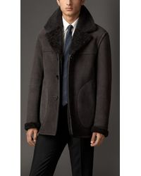 Burberry Sueded Shearling Coat - Lyst