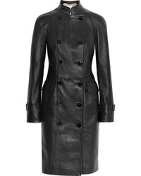 Alexander McQueen Double-Breasted Leather Coat black - Lyst