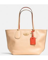 Coach Taxi Zip Top Tote in Two Tone Colorblock Leather - Lyst