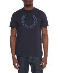 Fred Perry Chambray Wreath-Print Tee - Lyst