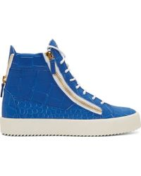 Giuseppe Zanotti Blue Croc_Embossed High_Top London Sombry Sneakers - Lyst