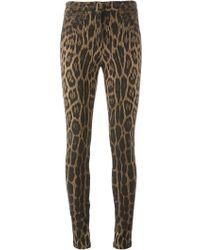 Roberto Cavalli Leopard Print Leggings - Lyst
