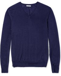 Bottega Veneta Fine-knit Merino Wool V-neck Sweater - Lyst