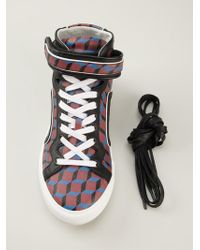 Pierre Hardy Check Hitop Sneakers - Lyst