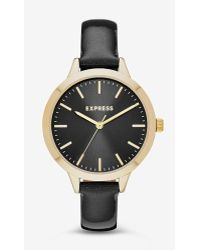 Express - Leather Strap Watch - Black And Rose Gold - Lyst
