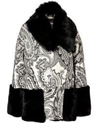 Just Cavalli Printed Coat with Fur Trim - Lyst