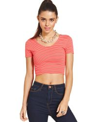 Material Girl - Juniors Cropped Striped Tee - Lyst