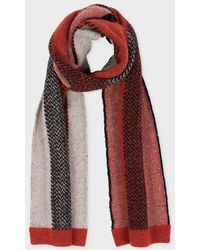 Paul Smith Red And Ecru Striped Wool-Mohair Scarf - Lyst