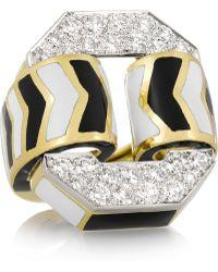 David Webb - Buckle 18-Karat Gold, Enamel And Diamond Ring - Lyst