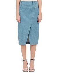 10 Crosby Derek Lam Wrap-Front Pencil Skirt blue - Lyst