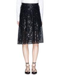 Victoria Beckham | Sequin Appliqué Panelled Mesh Skirt | Lyst