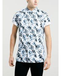 Topman Blue Digital Floral Print Short Sleeve Shirt - Lyst