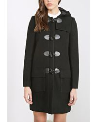 Forever 21 Hooded Longline Toggle Coat - Lyst