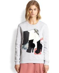 Carven Fleece-Appliquéd Embroidered Cotton Sweatshirt - Lyst