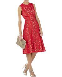 BCBGMAXAZRIA Avril Sleeveless Lace-Blocked Dress - Lyst