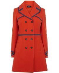 Karen Millen Textured Cotton Coat - Lyst