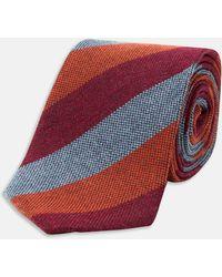 Turnbull & Asser | Slim Informalist Orange And Grey Wide Stripe Cashmere Blend Tie | Lyst