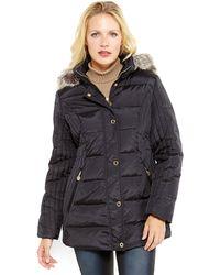 Anne Klein - Faux Fur Trim Hooded Down Coat - Lyst