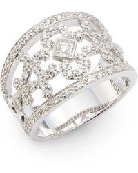 Charriol Columbus 043 Tcw Diamond 18k White Gold Stainless Steel Clover Ring white - Lyst