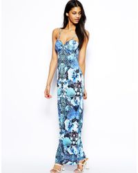 Lipsy Strappy Maxi Dress in Tropical Print - Lyst