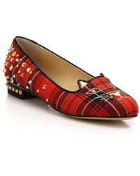 Charlotte Olympia | Punk Embellished Plaid Kitty Flats | Lyst