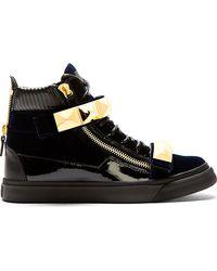 Giuseppe Zanotti Navy Velvet Studded High_top Veronica Sneakers - Lyst