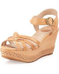 Frye Carlie 2 Piece Woven Leather Wedge Sandal - Lyst