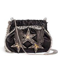 Venna - 'tri Star' Crystal Spike Leather Crossbody Chain Bag - Lyst