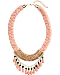 H&M Braided Necklace pink - Lyst