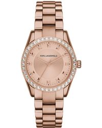Karl Lagerfeld Ladies Rose Goldtone Petite Stud Watch gold - Lyst