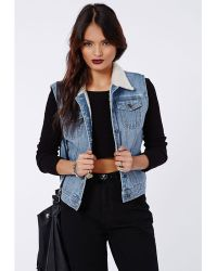 Missguided Cait Sleeveless Shearling Lined Denim Jacket Blue - Lyst