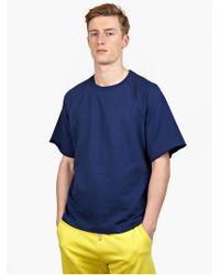 Jil Sander Men'S Blue Short-Sleeved Cotton Sweatshirt - Lyst