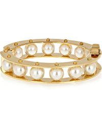Lele Sadoughi - Stone Round Slider Gold-Plated Faux Pearl Bracelet - Lyst