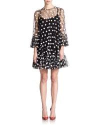 Dolce & Gabbana Tulle Polka-Dot Babydoll Dress - Lyst