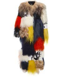 MSGM Patchwork Fur Coat - Lyst