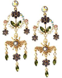 Betsey Johnson Antique Gold-Tone Fairy And Wand Mismatch Drop Earrings - Lyst