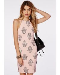 Missguided Strappy Low Back Bodycon Dress Nude Henna Hand Print - Lyst