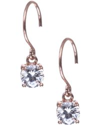 Anne Klein - Rose Gold Crystal Drop Earrings - Lyst